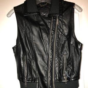 Faux leather vest.